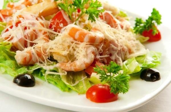 Салат цезарь с морепродуктами рецепты с
